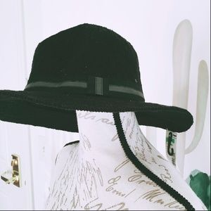 Women's Black Panama Hat NWT Crochet Sears